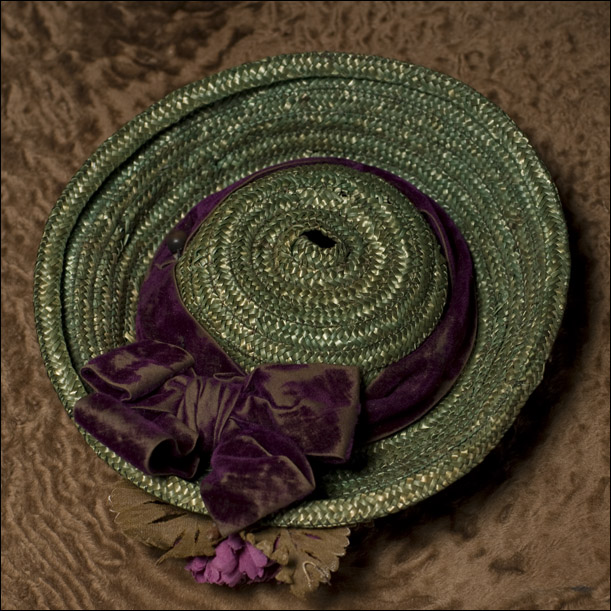 French Green Straw Bonnet