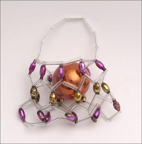 Vintage Christmas beaded glass ornament BAG