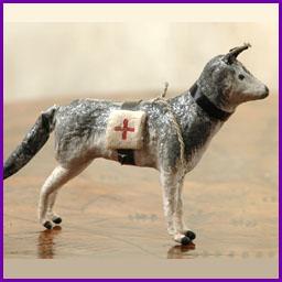 Antique Christmas ornament SANITAR DOG