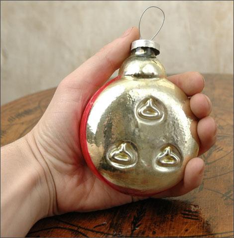 Antique Huge Kugel Christmas ornament CLOCK