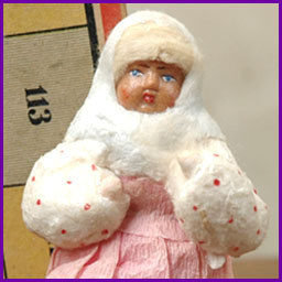 Antique Christmas ornament GIRL in PINK SKIRT