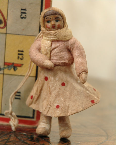Antique Christmas ornament GIRL in SKIRT