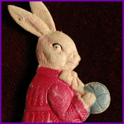 Antique Dresden Christmas ornament RABBIT WITH BALL