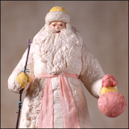 Antique Christmas tree cotton figure of SANTA