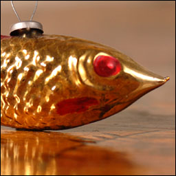 Antique Christmas ornament GOLDEN FISH