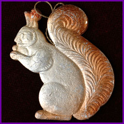 Antique Christmas ornament SQUIRREL With NUT