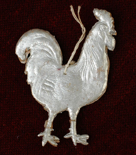 Antique Christmas Dresden ornament ROOSTER