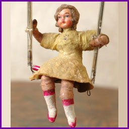 Antique Christmas ornament GIRL on SWING