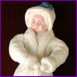 Antique Christmas cotton ornament GIRL in WINTER DRESS