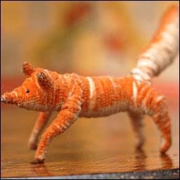 Antique Christmas ornament chenille FOX