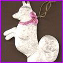 Antique Christmas ornament BEGGING DOG