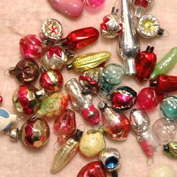 Antique Christmas set 36 miniature ornaments & topper