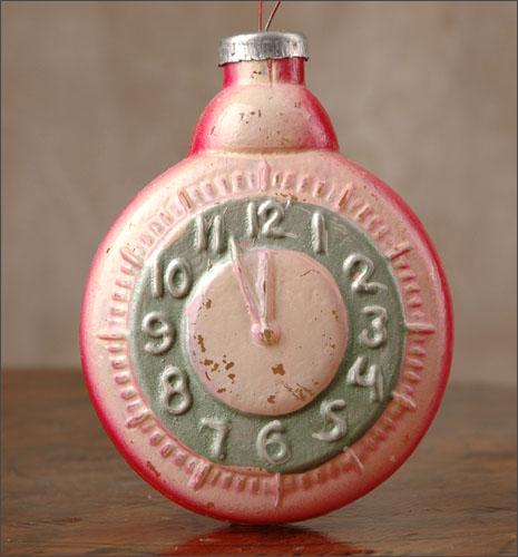 Antique Christmas HUGE KUGEL ornament  CLOCK
