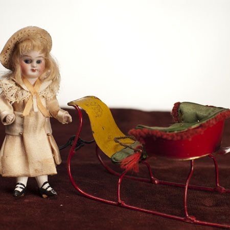 Rare German Sledge with Doll
