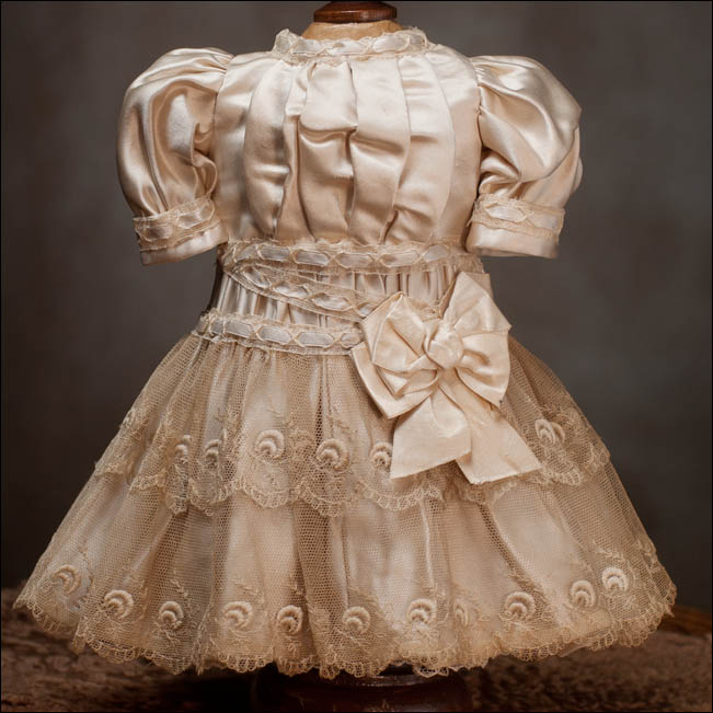 Ivory Silk Dress for 17 inch doll