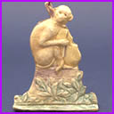 Old Dresden Christmas ornament MONEKY with CONTRABASS