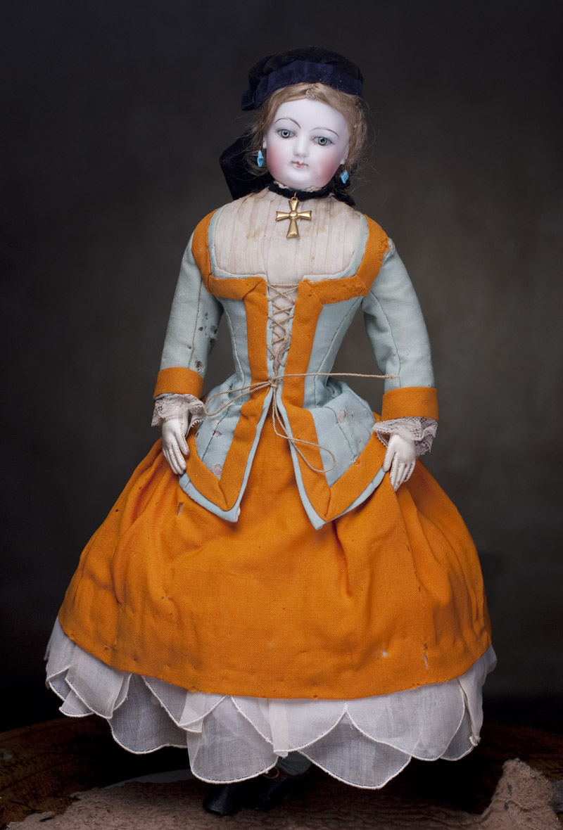 Модная кукла-леди Jumeau 43 см, полностью в оригинальном костюме!
