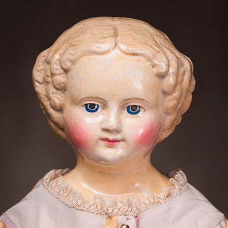 "20"" Stately Sonneberg  M &S Superior Papier-mache Lady Doll"