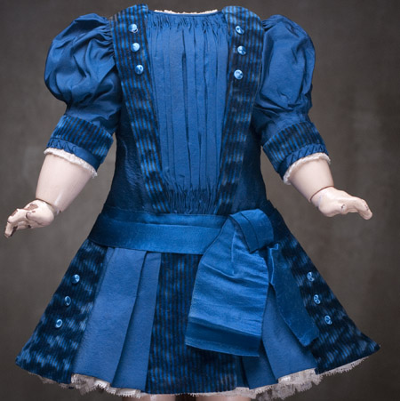 Antique French Blue dress for 22 in doll