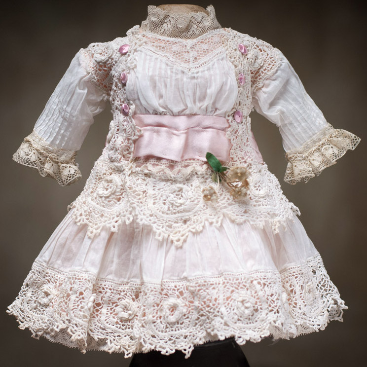 Antique white dress for doll