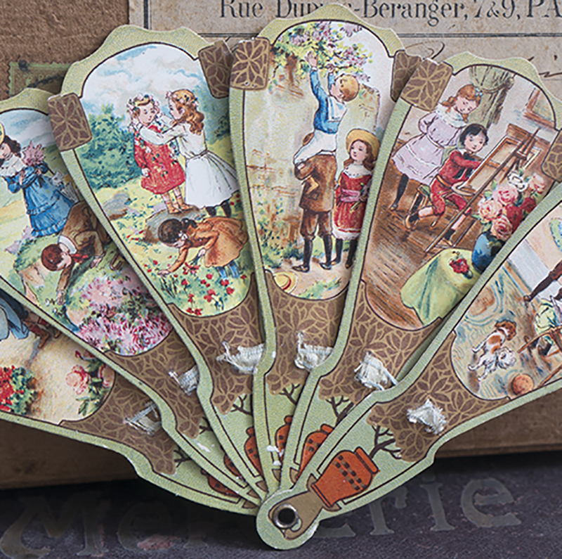 Antique Chromo Paper Doll Fan