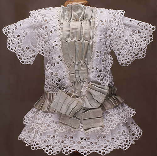 Antique White dress for 16 in doll