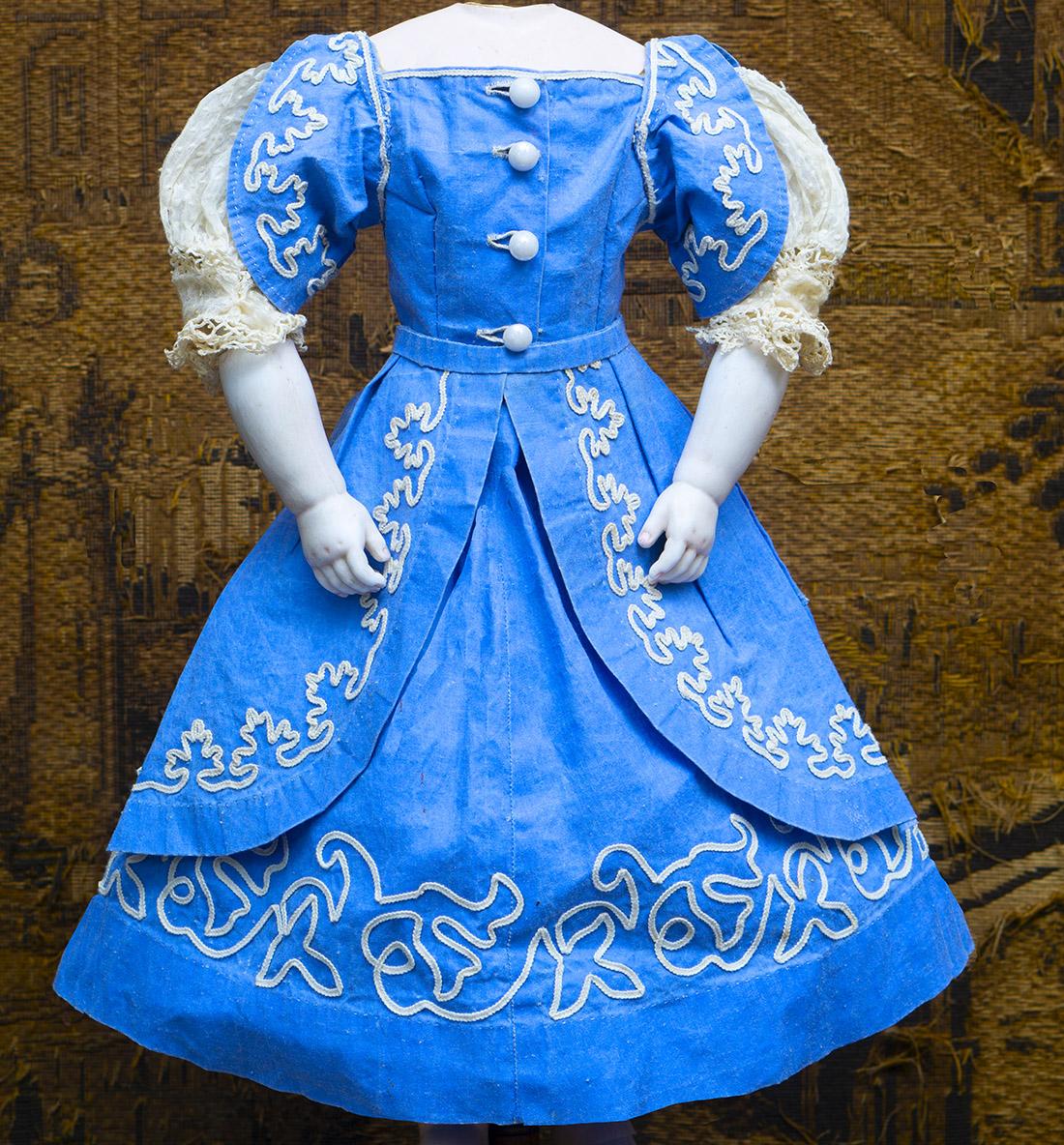 Antique blue linen dress
