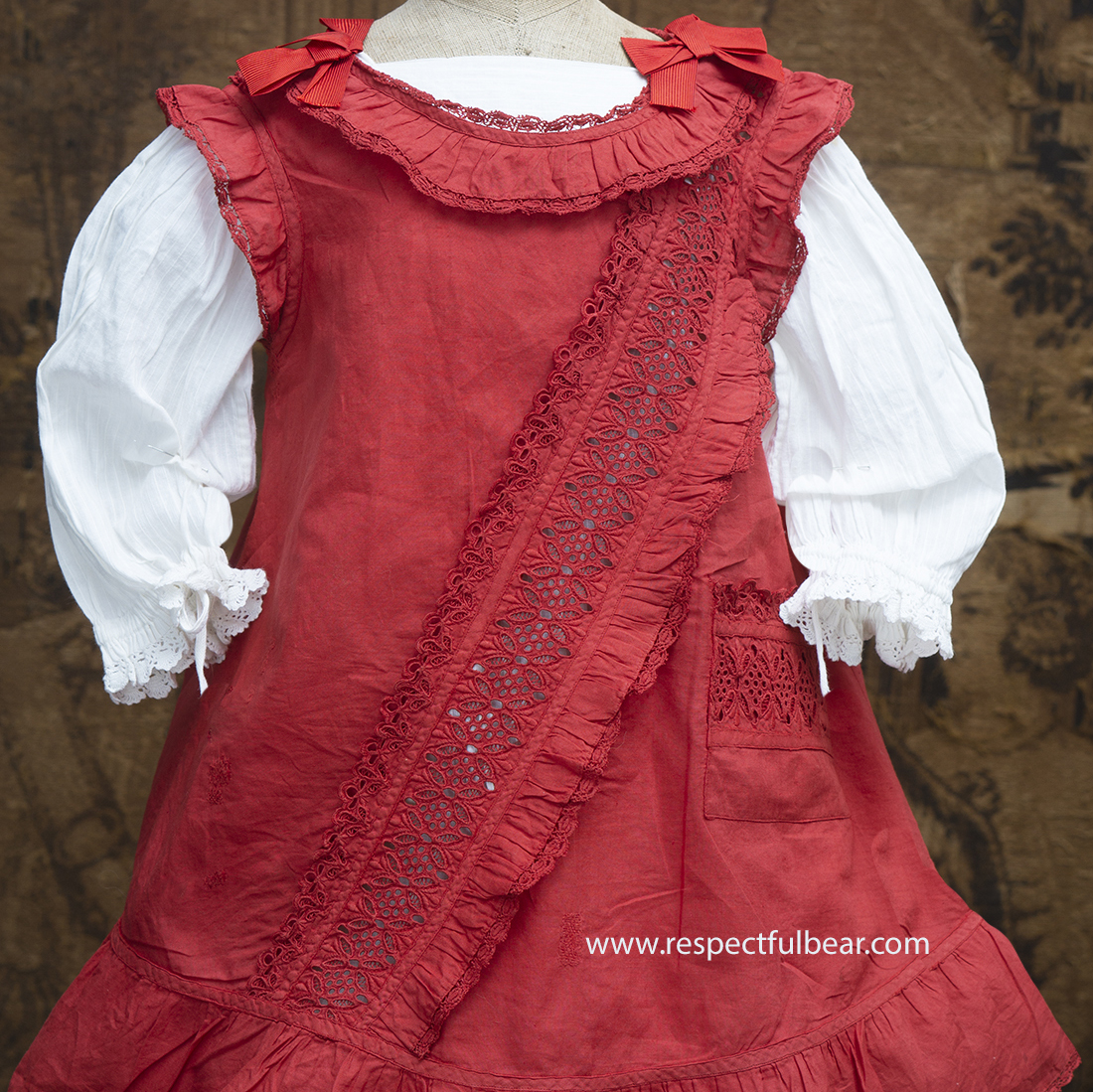 Antique Pinafore and Dress for doll 27-28in