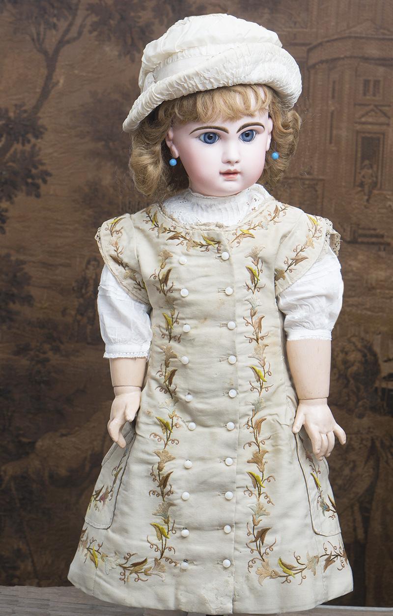 71см Большая кукла  Рекламная модель Jumeau  в роскошном оригинальном платье