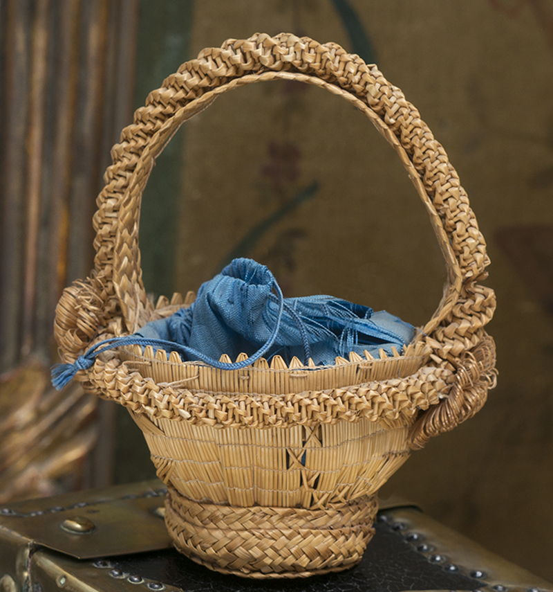 Antique Straw Bag Basket