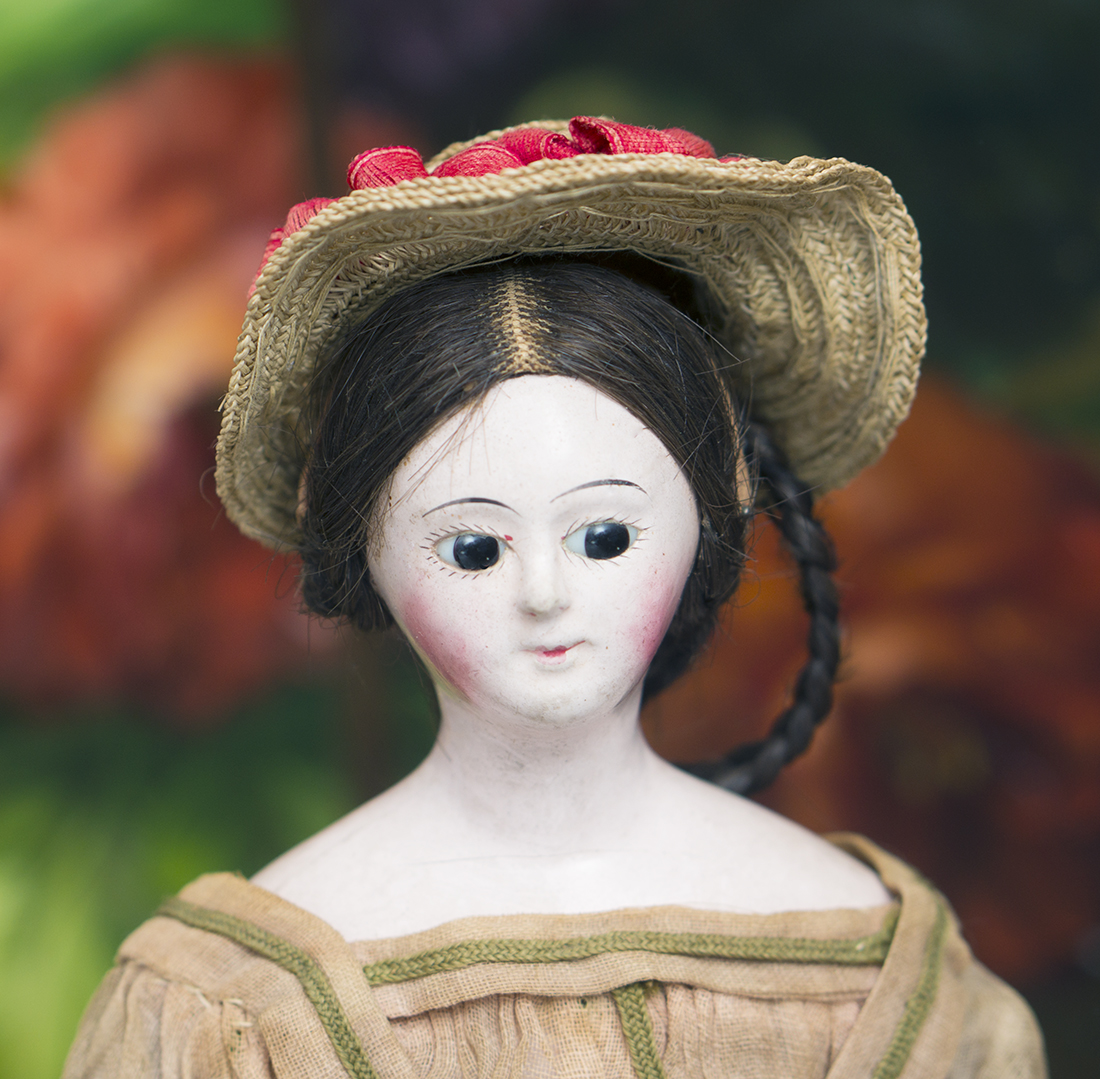 Antique french papier mache lady doll