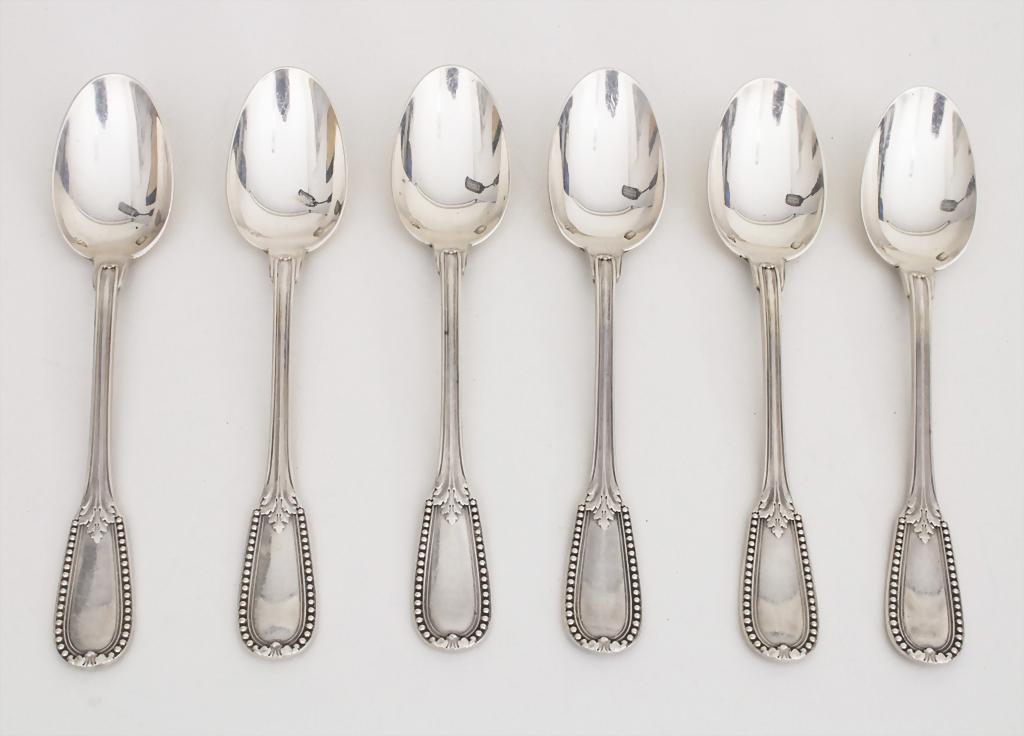 Набор серебряных  десертных ложек фирмы Emile Puiforcat, 1890