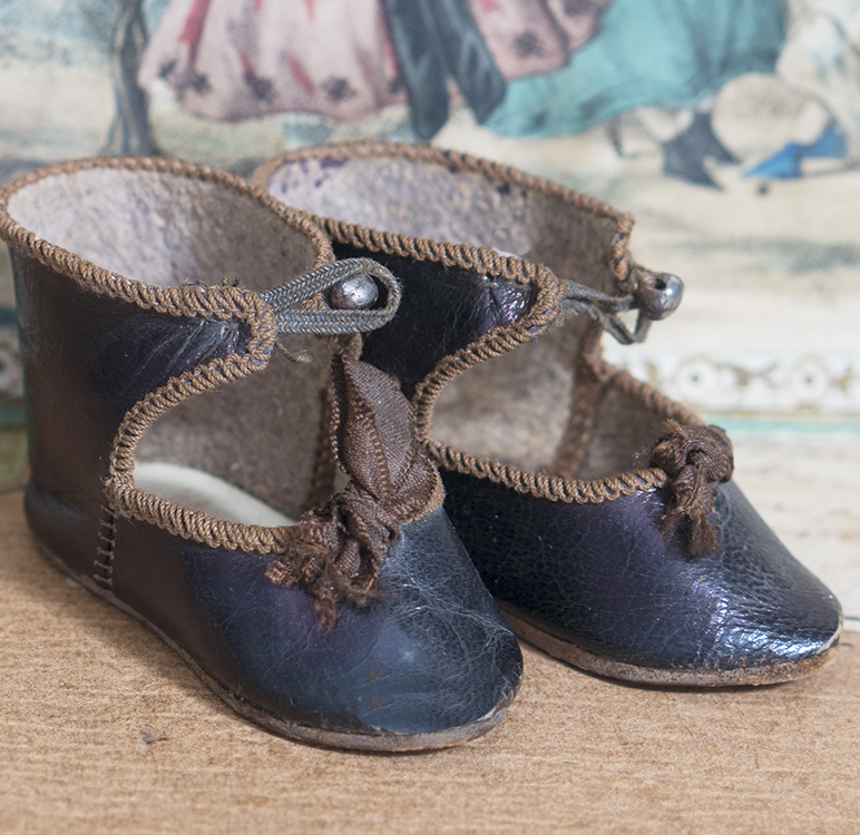RARE Gorgeous Antique EDEN BEBE Marked Doll Shoes