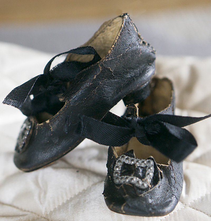 Antique doll shoes with heels