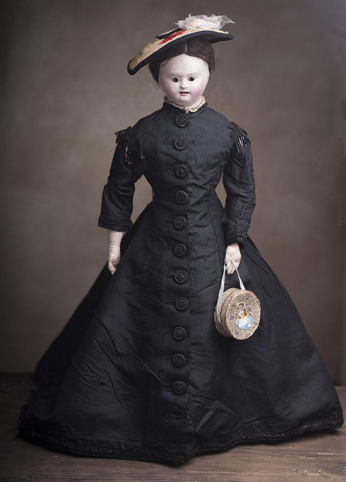 45 см. Очень старая французская модная кукла с головкой из папье-маше 1840-1850-х годов!