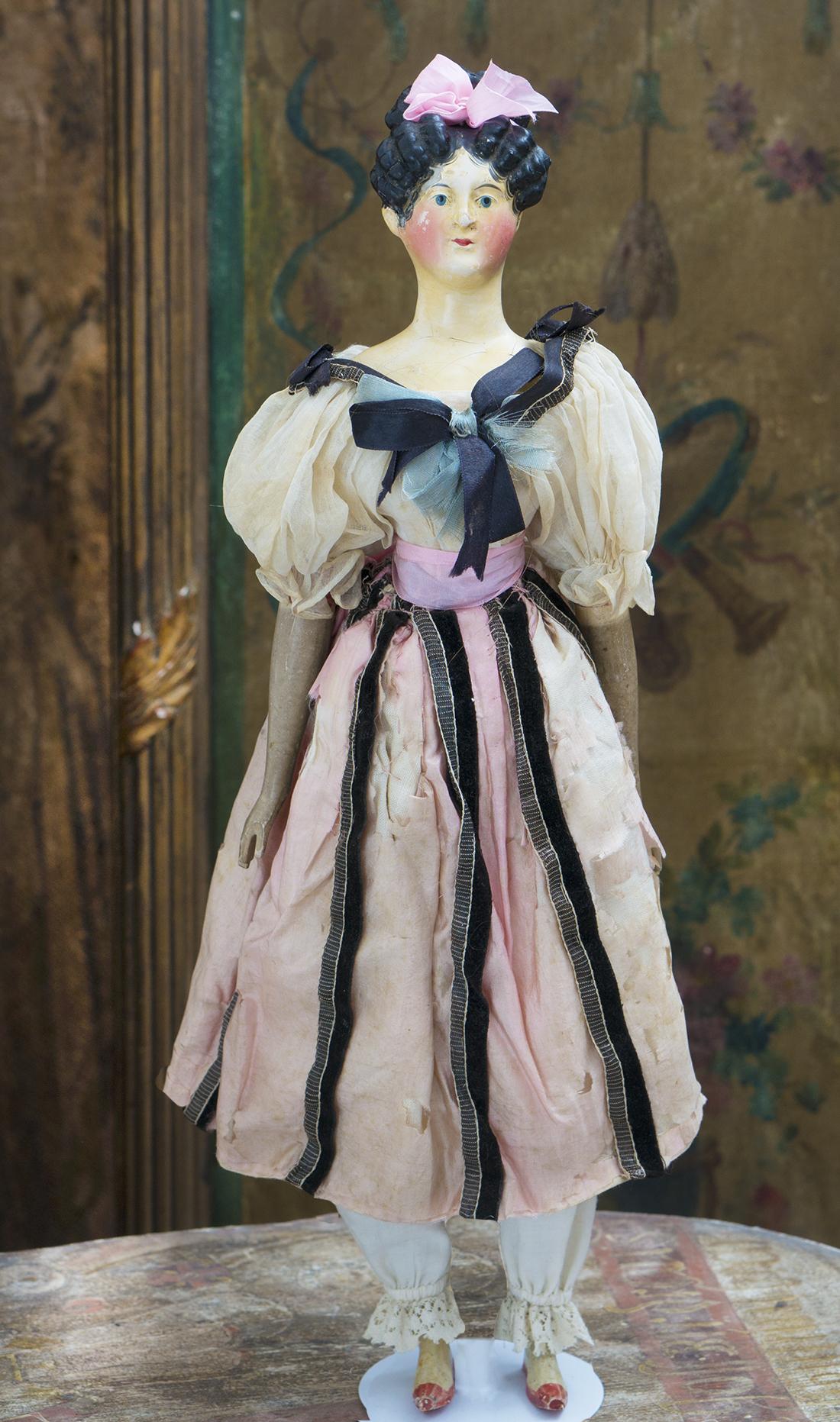 44 см Кукла из папье-маше Дезире Клари, 1830е годы