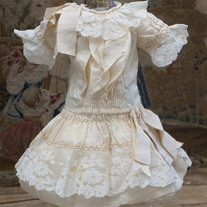 Antique Original Cream Silk Dress