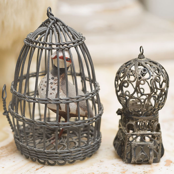 Two Antique German Bird cages