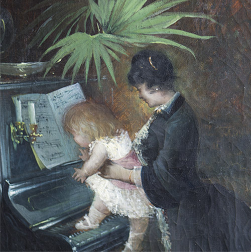 Antique French Picture MOTHER AND HER CHILD
