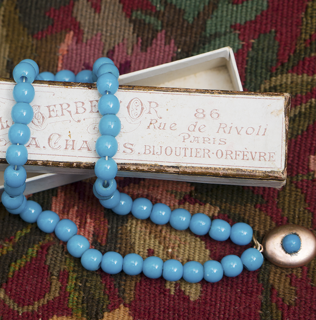Antique Jumeau Blue beads