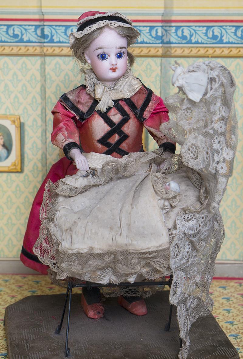 30см Механическая игрушка куколка Готье с колыбелью, 1875г.