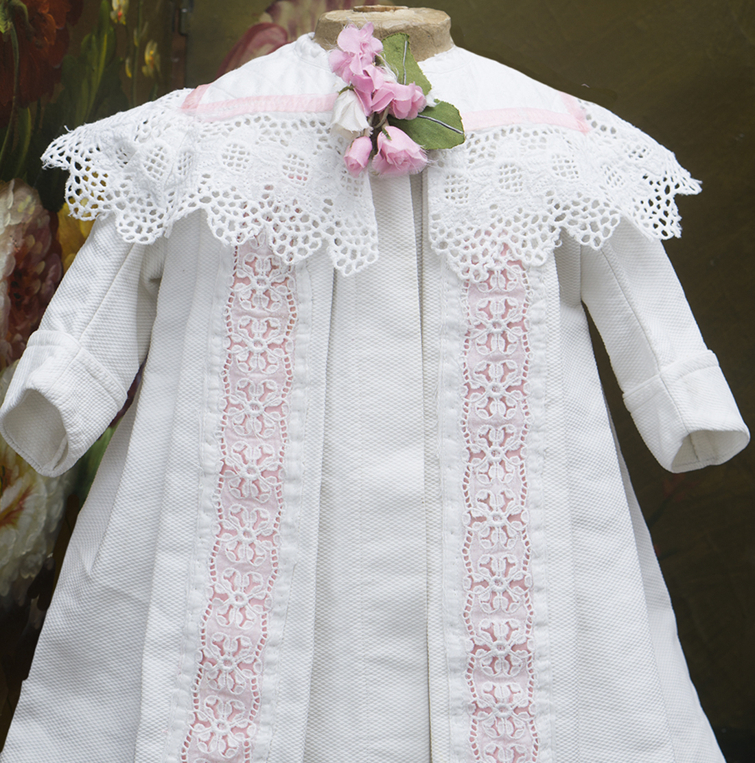 French White Pique Coat for doll