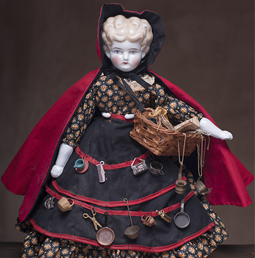 Antique  German China a street peddler Doll