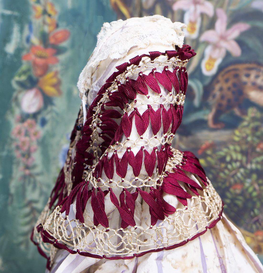 Antique Burgundy Silk Shawl