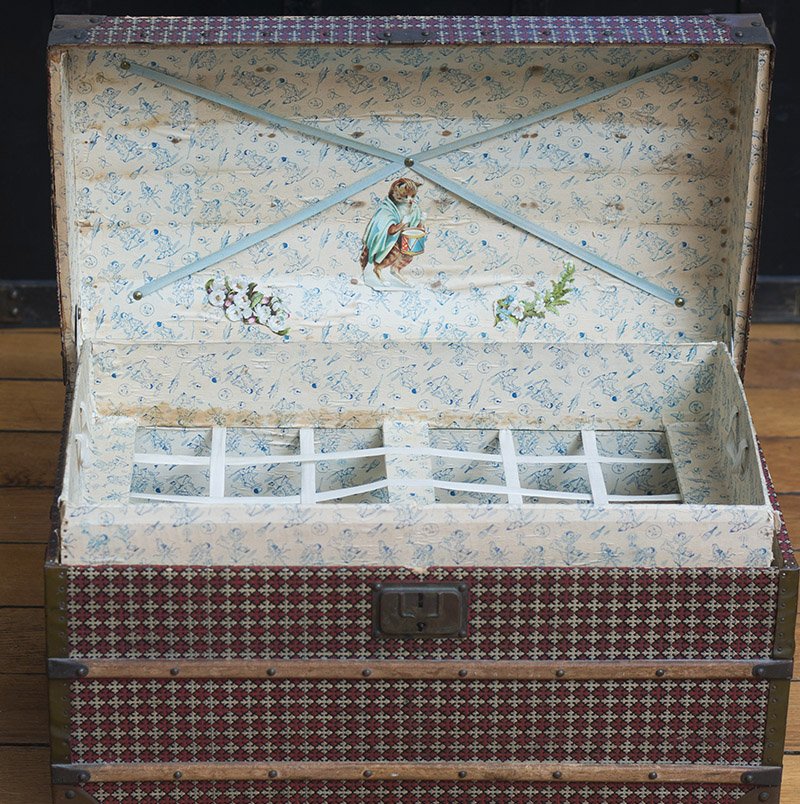 Antique French Dome Top Doll Trunk with tray