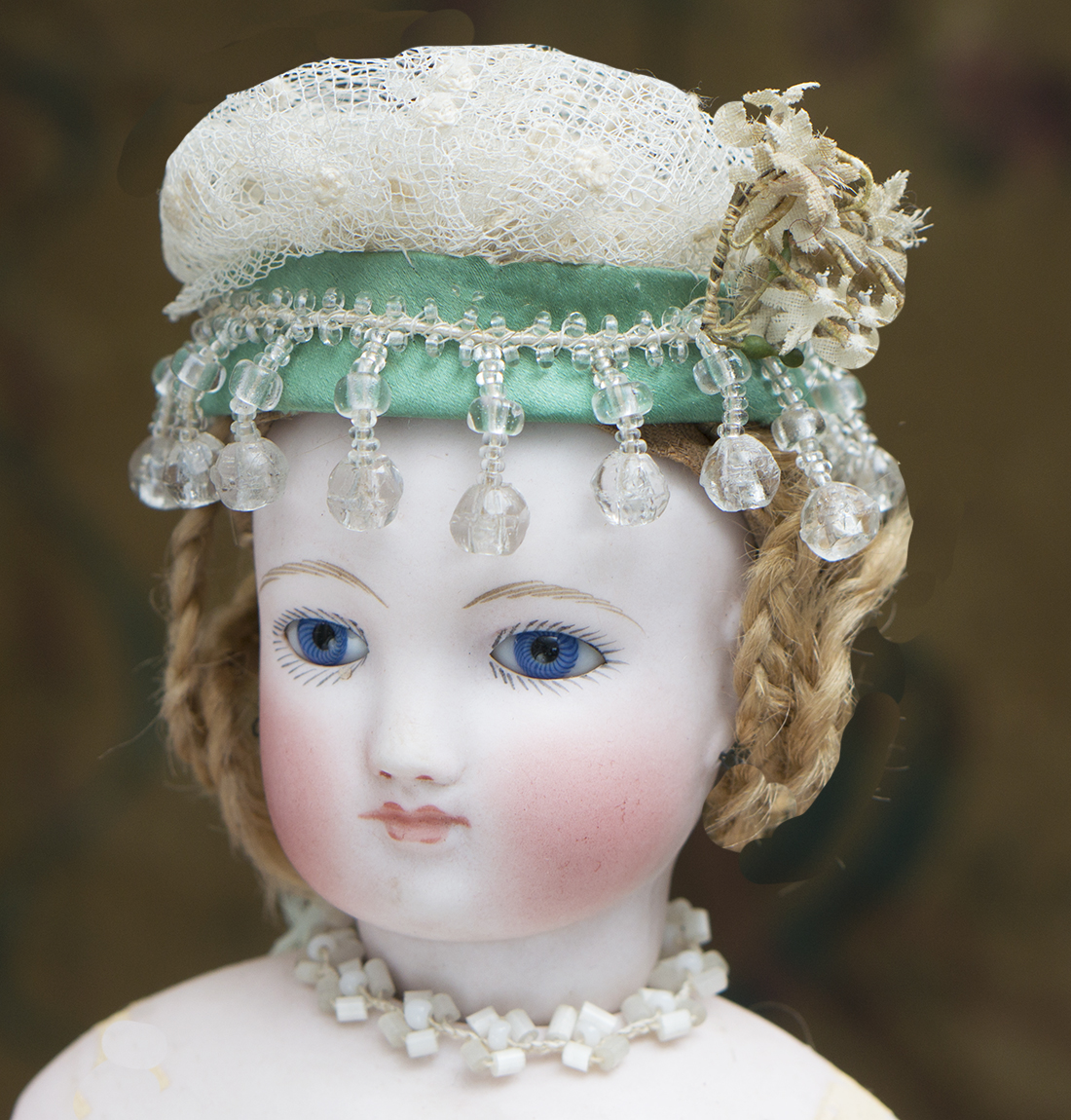 Antique fashion doll hat and beads