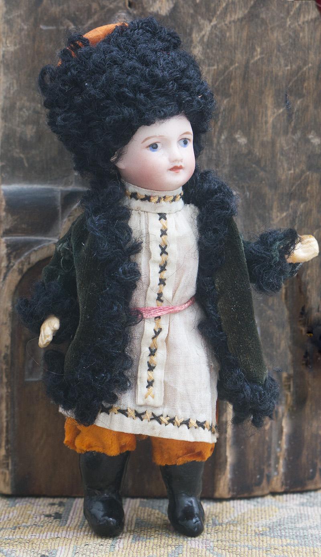 13  см Французская куколка-Mignonette в русском костюме казака