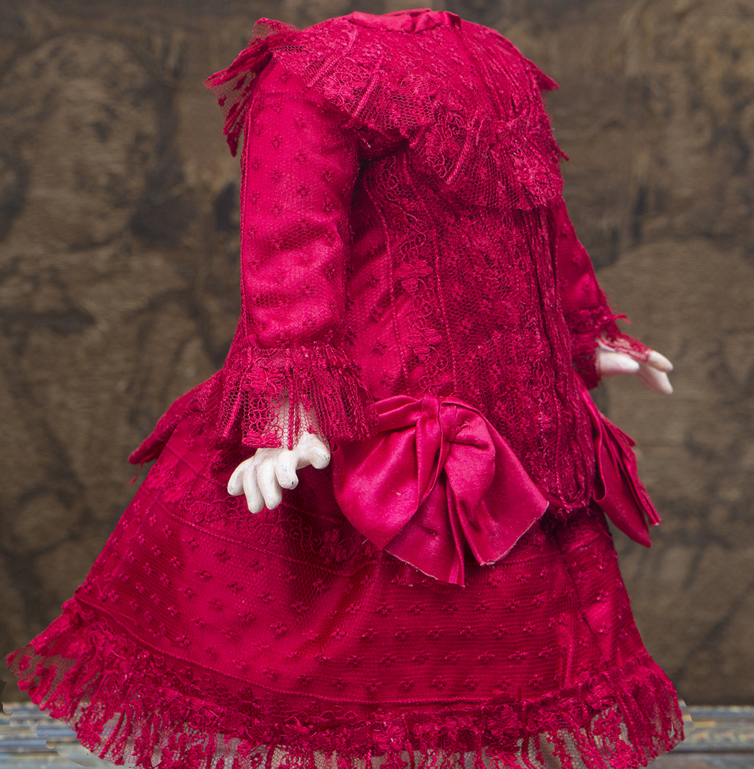Antique Red silk and lace dress