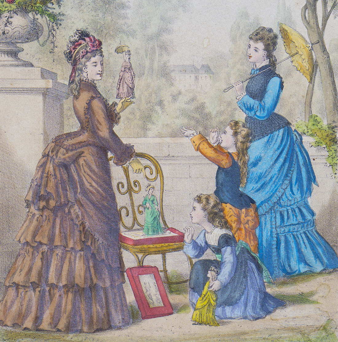 French paper doll with trousseau