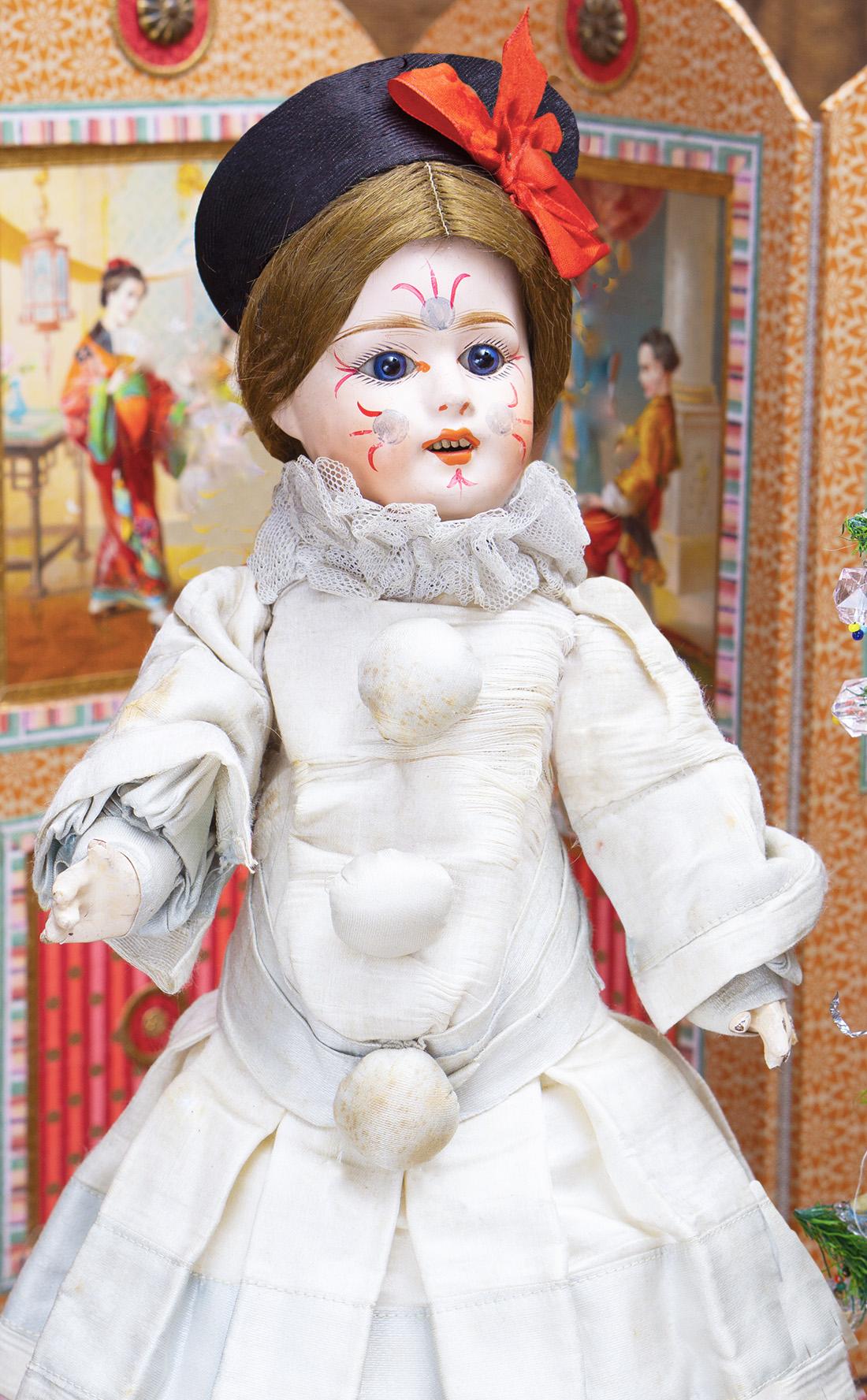37см Французская кукла Пьеро фирмы Fleischmann & Blodel. 1890е годы